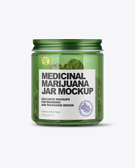 Green Glass Jar w/ Weed Buds Mockup