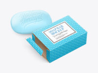 Matte Paper Carton Box With Soap Bar Mockup