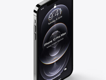 Isometric Apple iPhone 12 Pro Max Graphite Mockup