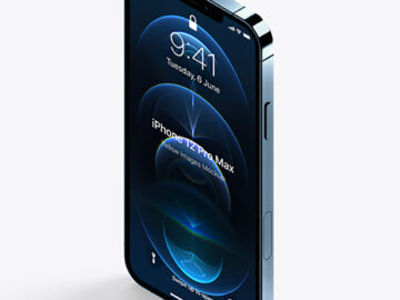 Isometric Apple iPhone 12 Pro Max Pacific Blue Mockup