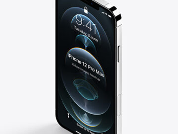 Isometric Apple iPhone 12 Pro Max Silver Mockup