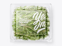 Transparent Plastic Container with Green Rosemary Leaves Mockup - Top View