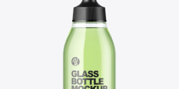 Clear Glass Cosmetic Bottle Mockup