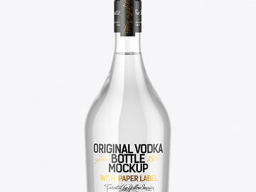 Clear Glass Vodka Bottle Mockup