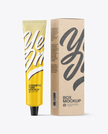 Glossy Cosmetic Tube with Kraft Box Mockup
