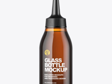 Amber Glass Cosmetic Bottle Mockup