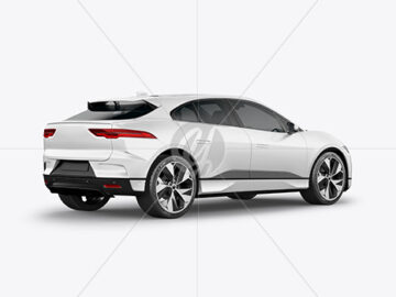 Electric Crossover SUV Mockup - Back Half Side View
