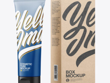 Matte Cosmetic Tube with Kraft Box Mockup