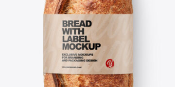 Ciabatta Bread with Label Mockup