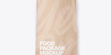 Kraft Package with Bread Mockup