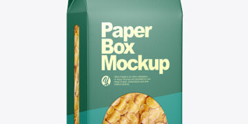 Paper Box With Corn Flakes Mockup