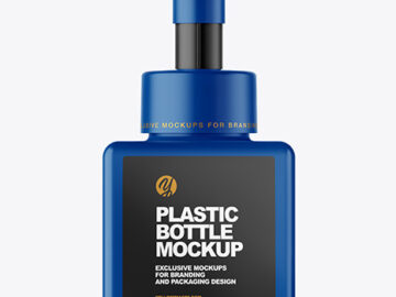 Matte Plastic Bottle with Pump Mockup