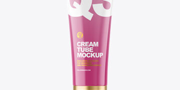 Glossy Cosmetic Tube With Pump Mockup