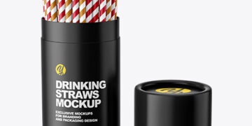 Tube with Straws Mockup