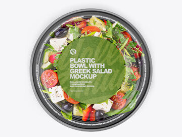 Plastic Bowl With Greek Salad Mockup