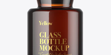 Amber Glass Bottle Mockup