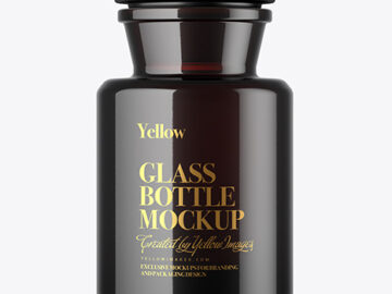 Dark Amber Glass Bottle Mockup