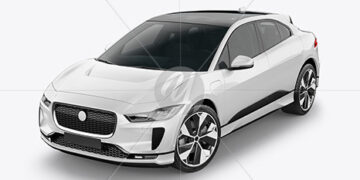 Electric Crossover SUV Mockup - Half Side View (High-Angle Shot)