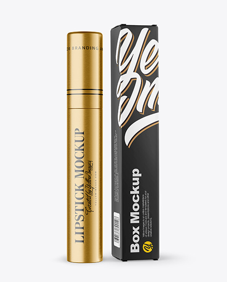 Metallic Cosmetic Tube with Box Mockup