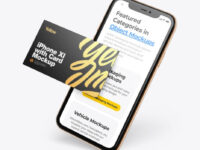 Apple iPhone 11 Pro w/ Business Card Mockup