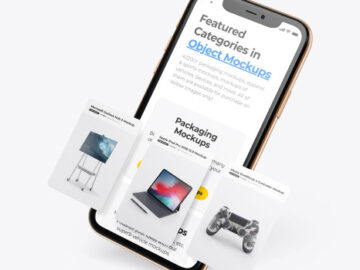 Apple iPhone 11 Pro w/ Cards Mockup