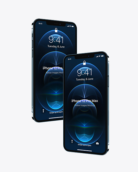 Two Apple iPhones 12 Pro Max Pacific Blue Mockup