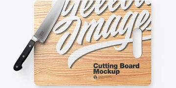 Wooden Cutting Board w/ Metallic Knife Mockup