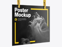 Textured Poster A4 w/ Pins Mockup-Half Side View