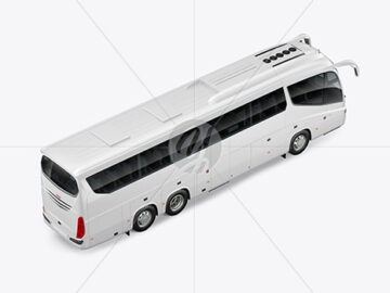 Bus Mockup - Back Half Side View (High-Angle Shot)