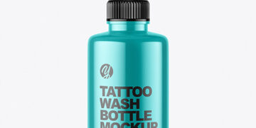 250ml Metallic Tattoo Wash Bottle Mockup