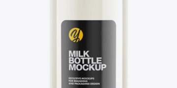 Milk Bottle Mockup - Half Side View