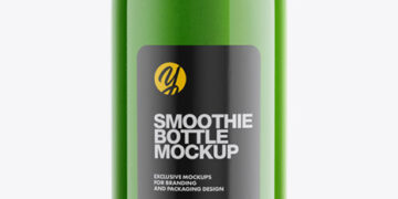Green Smoothie Bottle Mockup - Half Side View