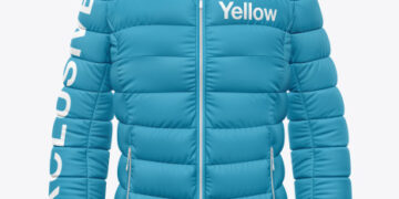 Matte Nylon Women's Down Jacket Mockup