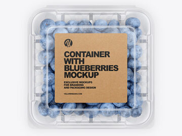 Container With Blueberries Mockup