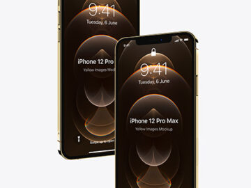 Two Apple iPhones 12 Pro Max Gold Mockup