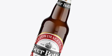 Amber Glass Lager Beer Bottle Mockup