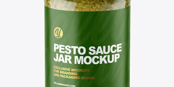 Clear Glass Jar with Pesto Sauce Mockup