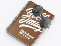 Leather Notebook with Sunglasses Mockup