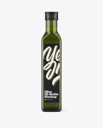 Green Glass Olive Oil Bottle Mockup