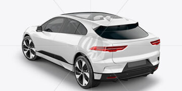 Electric Crossover SUV Mockup - Back Half Side View (High-Angle Shot)