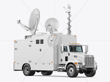 TV Truck Mockup - Half Side View