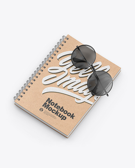 Kraft Notebook with Sunglasses Mockup