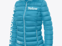 Matte Nylon Women's Down Jacket w/Hood Mockup