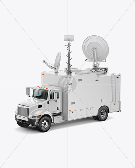 TV Truck Mockup - Half Side View (High-Angle Shot)