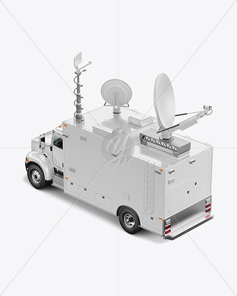 TV Truck Mockup - Back Half Side View (High-Angle Shot)