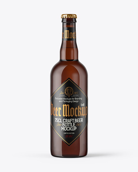 750ml Amber Craft Beer Bottle Mockup