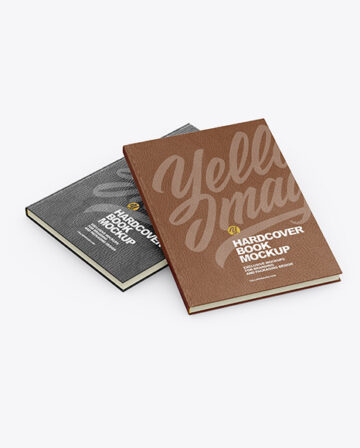 Hardcover Books w/ Leather Cover Mockup