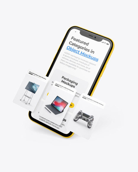 Clay Apple iPhone 11 Pro w/ Cards Mockup