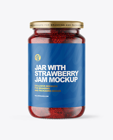 Clear Glass Jar with Strawberry Jam Mockup