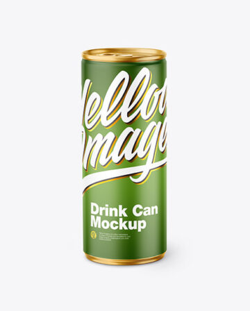 Metallic Drink Can w/ Matte Finish Mockup
